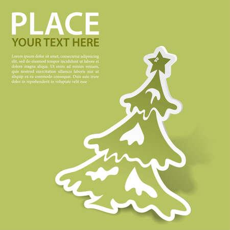 Kerstmis sticker met boom  Vector Illustratie