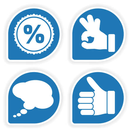 sticky hands: Collect Sticker with Hand, Speech Bubble and Stamp Icon, element for design Illustration