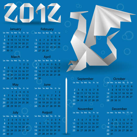 Calendar for 2012 with Origami Dragon  Vector