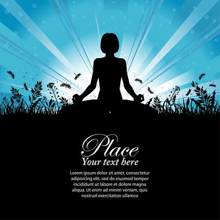 Silhouette of a Girl in Yoga pose on Nature background with grass, flower and butterfly  Illustration