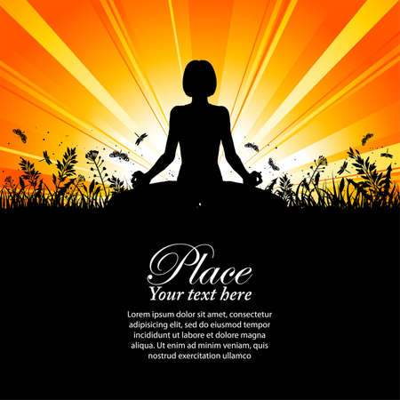 women yoga: Silhouette of a Girl in Yoga pose on Nature background with grass, flower and butterfly  Illustration