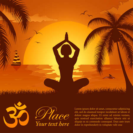 Silhouette of a Girl in Yoga pose on Summer background with palm tree, dolphin and yacht  Vector