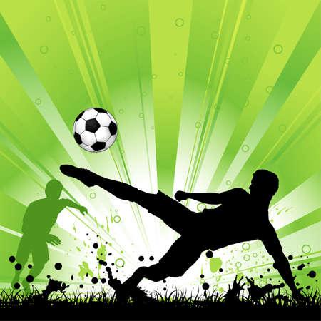 soccer: Jugador de futbol con la pelota en el fondo del grunge, elemento de diseño, ilustración de vectores