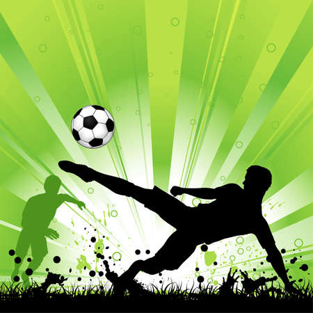 voetbal silhouet: Voetbalspeler met bal op grunge achtergrond, element voor design, vector illustratie