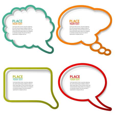 Conjunto de burbujas de expresión y pensamiento, elemento de diseño