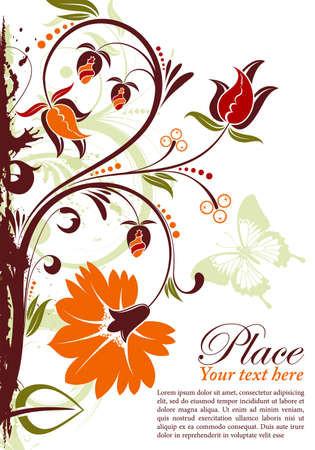 Grunge floral frame with butterfly, element for design Stock Vector - 10475798