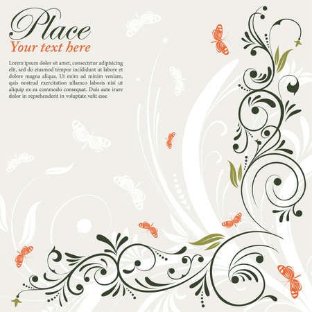 Flower Frame with Butterfly, element for design