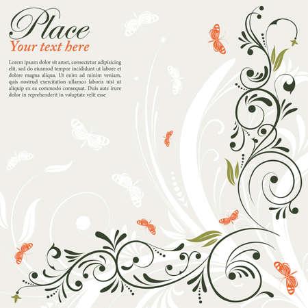 Telaio fiore con farfalla, elemento per la progettazione Vettoriali