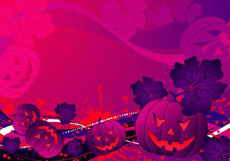 Grunge Halloween background with pumpkin and wave pattern, element for design, vector illustration Vector