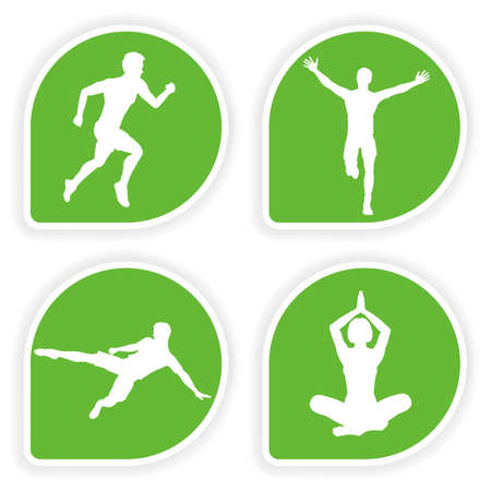 runner girl: Collect Sticker with silhouettes running man, yoga girl and soccer player