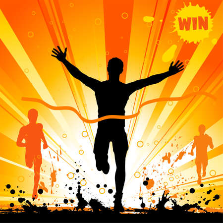 marathon runner: Silhouette of a Man Winner on Grunge Background, illustration for design