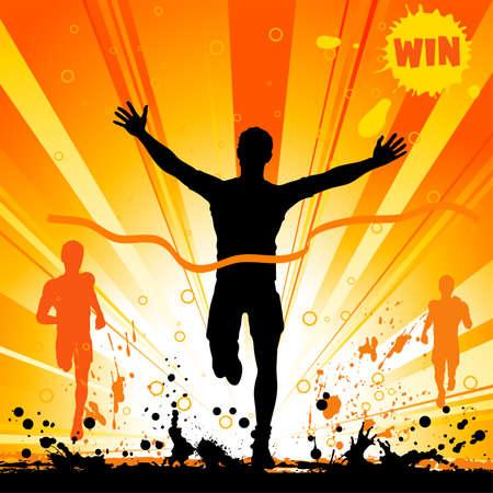 maratón: Silueta muže vítěz na pozadí grunge, ilustrace pro design
