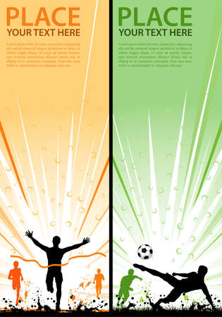 soccer ball on grass: Collect grunge sport flyer with Soccer Player and Winner Man, element for design Illustration