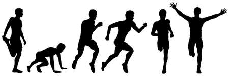 Set of silhouettes of a running man, illustration for design Illustration