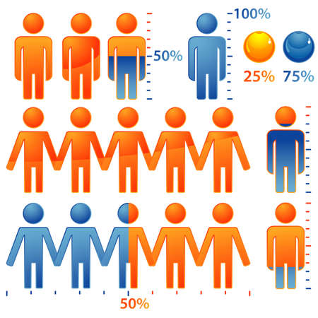 population: Set of icons peoples with percents the population, element for design, vector illustration