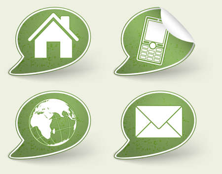 Collect Sticker with Home, Telephone, Mail and Earth Icon, element for design, eps10 vector illustration Stock Vector - 10554823