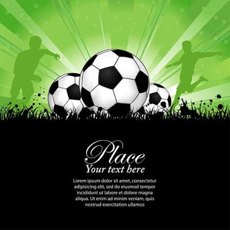 football silhouette: Giocatori di calcio con palla su fondo grunge, elemento di design, vector illustration