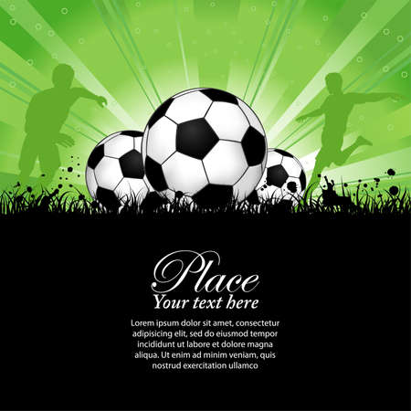 soccer ball on grass: Soccer Players with ball on grunge background, element for design, vector illustration Illustration