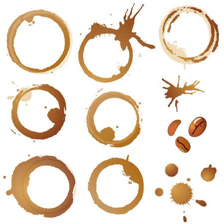 Sammeln Sie, Kaffeeflecken und Körner, isoliert auf weiss, eps10-Vektor-illustration