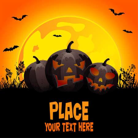 calabazas de halloween: Fondo de Halloween con calabazas en hierba, elemento de dise�o, ilustraci�n vectorial Vectores
