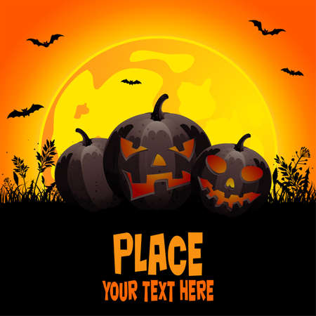Halloween background with pumpkin on grass, element for design, vector illustration Illustration