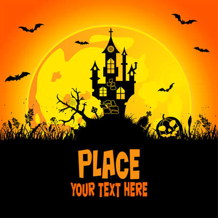 halloween castle: Halloween background with castle, element for design, vector illustration Illustration