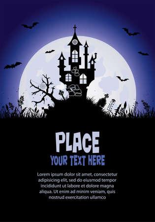Halloween background with castle, element for design, vector illustration Illustration