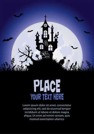 Halloween background with castle, element for design, vector illustration Stock Vector - 10554809