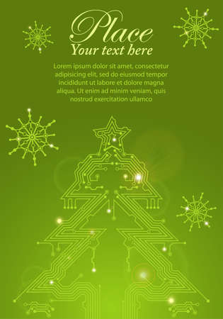 Christmas Tree from circuit board with Digital Snowflake, element for design, eps10 vector illustration Vector