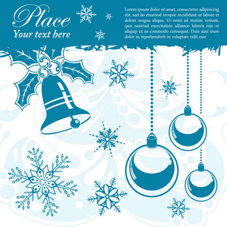 Grunge Christmas frame with snowflakes, bell, element for design, vector illustration Vector