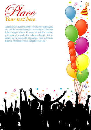 birthday invitation: Party frame with balloon and dancing silhouettes, element for design, vector illustration
