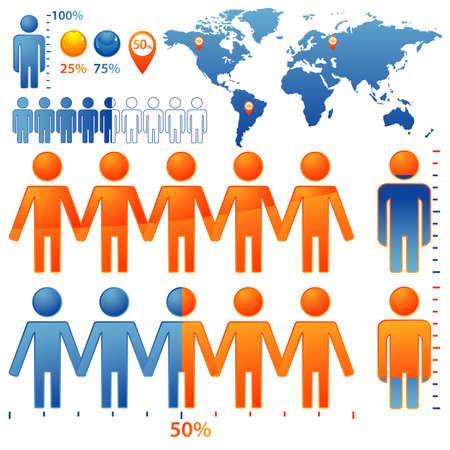 población: Conjunto de pueblos de iconos con porcentajes de la población