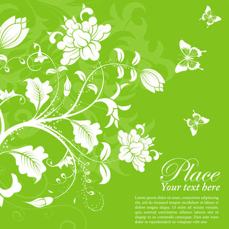 Flower frame with butterfly Vector