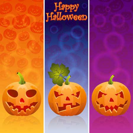 Three Halloween banner with Jack OLantern,  pumpkin, eps10 vector illustration Vector