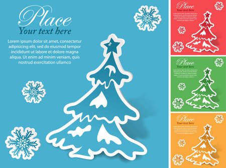 Christmas sticker with tree and snowflake in different colors Vector