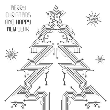 pcb: Christmas Tree from circuit board with Digital Snowflake Illustration