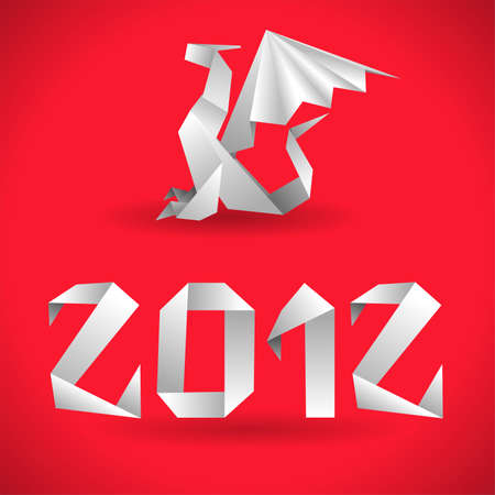 Origami Dragon with 2012 Year Stock Vector - 10621288