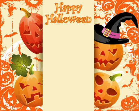 Grunge halloween frame with bats, ghost, pumpkin Vector