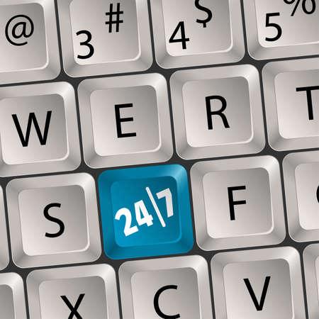 twenty four hours: Computer keyboard with a key twenty four hours by seven days