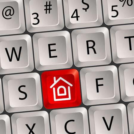 home key: Teclado de ordenador con una ilustraci�n tecla Inicio vector,