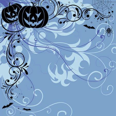 Halloween background with bat, pumpkin, floral, vector illustration Vector