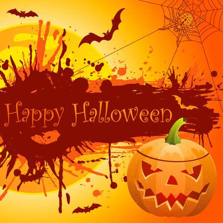 Grunge halloween frame with bats, pumpkin and spider. Vector