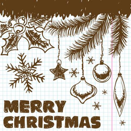 garabatos: Navidad garabatos en una hoja de un cuaderno escolar, elementos para el dise�o.