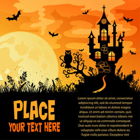 halloween tree: Halloween background with Castle, element for design. Illustration