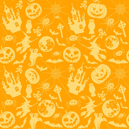 Halloween seamless background with bats, ghost and pumpkin. Vector