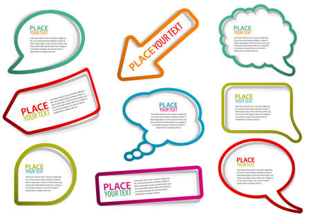 Set of speech and thought bubbles, element for design. Vector