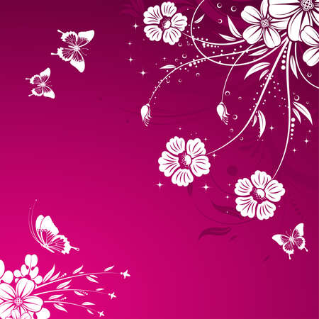 Floral Background with butterfly, element for design. Vector