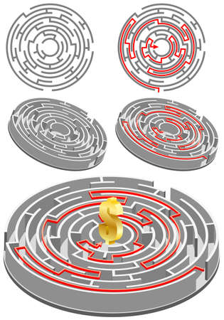 Set of circular Labyrinth with the solution, all the elements on different layers Vector