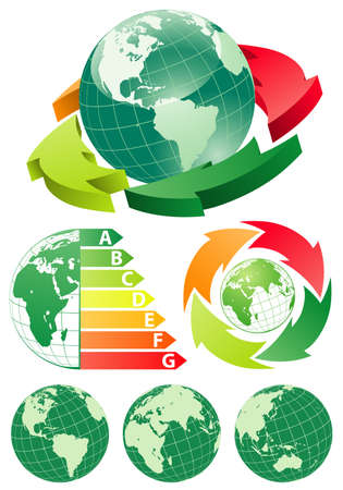 Earth 3D and flat from different angles with energy efficiency arrow Stock Vector - 10858327
