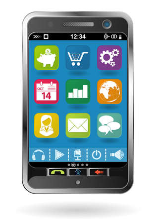 Mobile Smartphone with icons, element for design Stock Vector - 10858341